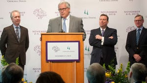Craig Fravel, Breeders' Cup president and chief execuive officer talks about the decision-making process of selecting a Breeders' Cup site after announcing that Churchill Downs is the organization's location for the premier race in the fall of 2018. Listening behind him, l-r are: Louisville Metro Mayor Greg Fischer, Churchill Downs President Kevin Flanery, and Craig Fravel, Breeders' Cup president and chief execuive officer.25 April, 2016