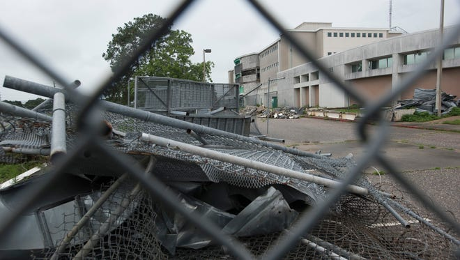Three years after an explosion at the Escambia County Central Booking and Detention facility on West Leonard Street, the jail still looks the same as it did in the days after the disaster. The facility is pictured on Thursday, June 1, 2017.