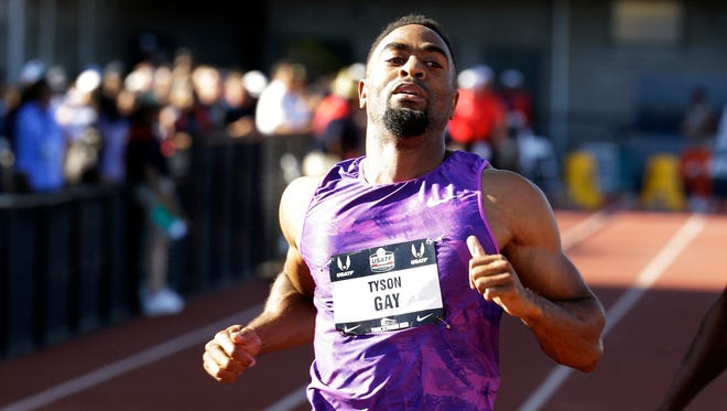 Tyson Gay finished second in a heat in the men's 100 meters at the U.S. track and field championships in Eugene, Ore., Thursday, June 25, 2015.