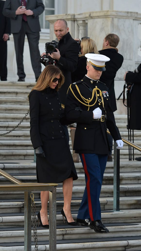 a4abfa41bb462 Melania Trump wore a military-style jacket for a ceremony