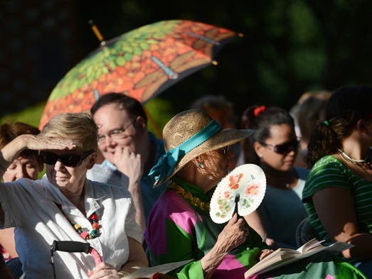 Spectators gather at St. George's Epicopal Church in