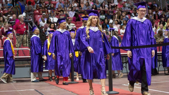Central students with the class of 2017 go through their commencement ceremony on June 5 inside Worthen Arena at Ball State University.