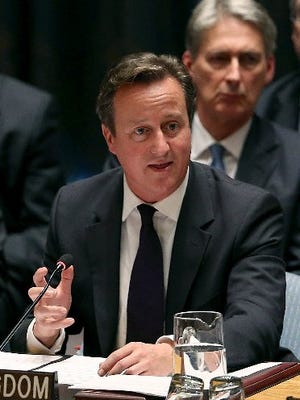 British Prime Minister David Cameron speaks at a Security Council meeting on global terrorism during the United Nations General Assembly on Wednesday, Sept. 24, 2014, in New York City.