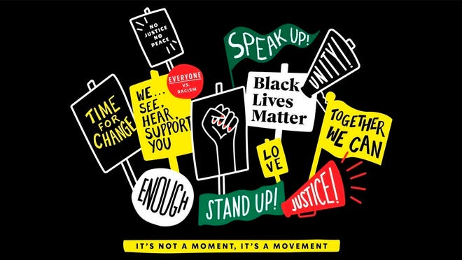An image provided by Starbucks via Twitter shows a graphic with Black Lives Matter signs for the company's new T-shirts. Starbucks announced Friday that it is creating its own Black Lives Matter shirt that will soon be sent to more than 250,000 store partners for employees to wear if they choose. The move comes after the coffee chain reportedly banned employees from wearing Black Lives Matter gear.