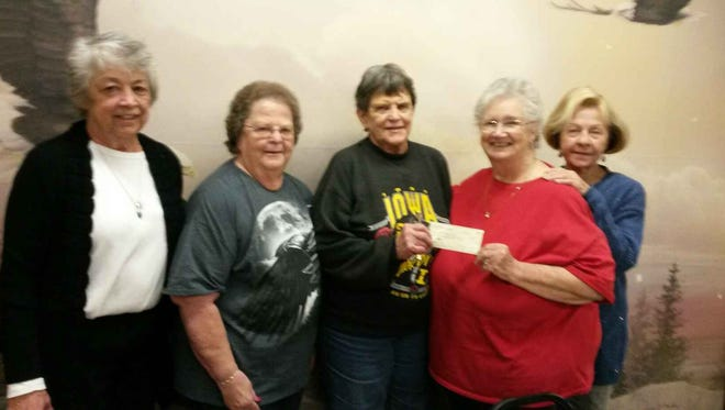 The Fraternal Order of the Eagles 3183 Bingo Committee recently donated $1,200 to the  Bull Shoals Food Pantry. Presenting the check are, from left, Mary Ann Little, Judy Phillips, Dotty Smith from the Eagles, Bonnie Galvin, manager of the  Food Pantry  and Hildigarde Seaton  from the Eagles.