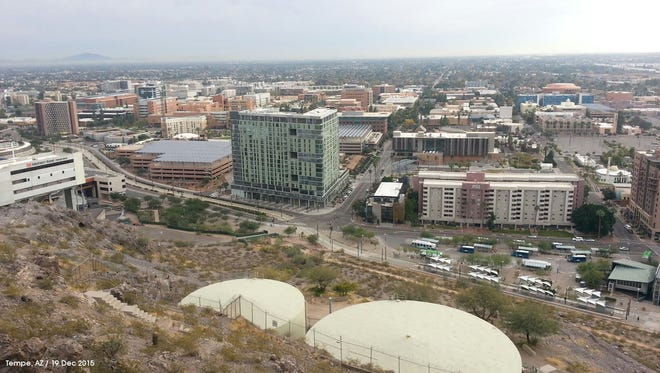 A view from atop 'A' mountain in Tempe, looking south towards the campus of Arizona State University.
