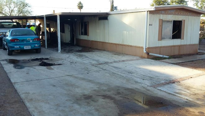 A man was found dead after a mobile-home fire near 82nd Street and Third Avenue in an unincorporated area near east Mesa on Dec. 15, 2016.