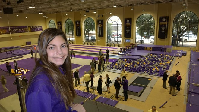 Alyssa, of Baton Rouge, shows her support for LSU.