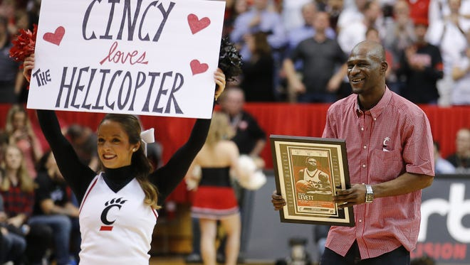 Former Cincinnati Bearcats guard Melvin 'The Helicopter' Levett, here honored during a 2017 game at Fifth Third Arena, led a team of former UC players in the annual TBT (The Basketball Tournament) on Saturday in Columbus.