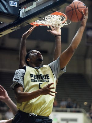 Purdue's Basil Smotherman focuses while shooting a reverse lay up Saturday, October 24, 2015 at Mackey Arena in West Lafayette.