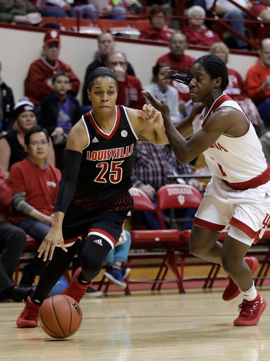 Louisville's Asia Durr (25) goes to the basket against Indiana's Bendu Yeaney during the first half of an NCAA college basketball game Thursday, Nov. 30, 2017, in Bloomington, Ind. (AP Photo/Darron Cummings)