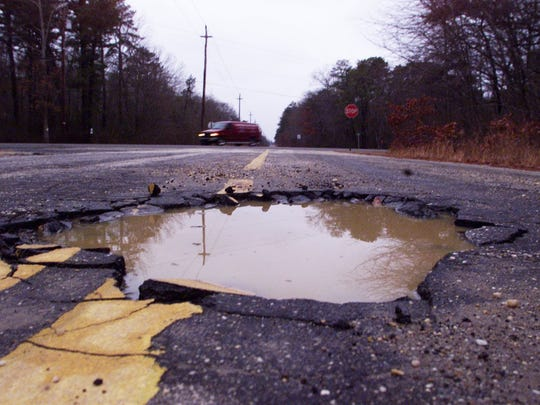 A pothole developed on Stafford Road in the Manahawkin