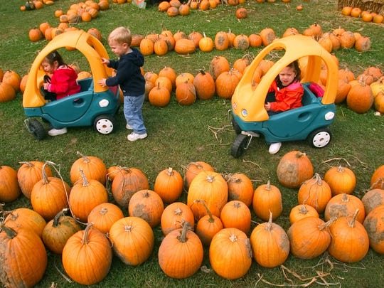 -  -Text: PC Photo Jason A. Cook 10/12/04 - Twins, Grace and Anna Spellman, 3, ride through Kroul's pumpkin patch as their friend, Will Arling, 2, gives grace a little help, Tuesday afternoon, Oct. 12, 2004.