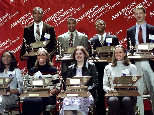 Winners in the 2001 American General Miss and Mr. Basketball Front row L-R Ashley Earley (Briarcrest), Brittany Jackson (Bradley Central), Andrea Davidson (Jackson Co.) and Jenny Lannom (Bradford) Back row L-R David Harrison (Brentwood Academy), Earnest Shelton (White Station), Taurean Moy (B.T. Washington) and Jason Holwerda (Chattanooga Christian)