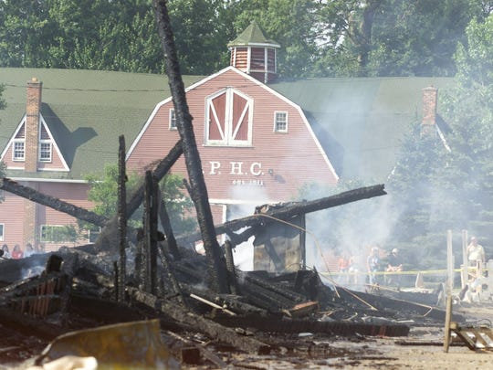 The Gross Point Woods Hunt Club stables were destroyed