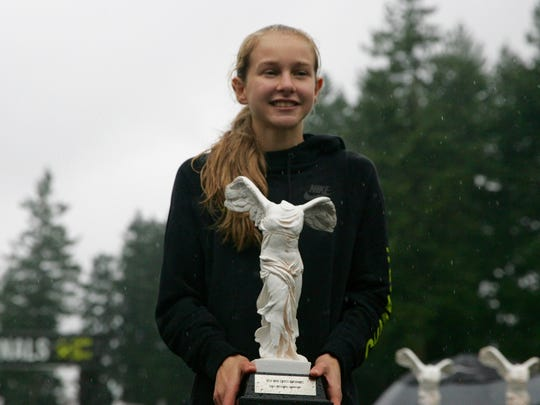 North Rockland sophomore Katelyn Tuohy after winning the Nike Nationals cross country girls race in Portland, Oregon on Saturday, December 2nd, 2017. She set a course record, finishing with a time of 16:44.7.
