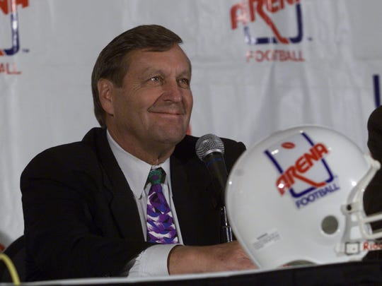 Arena Football League coach Mouse Davis at his introductory news conference at the Palace of Auburn Hills.