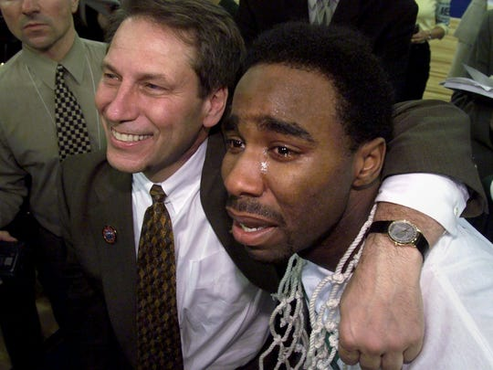 """1999-2000: MSU 89, Florida 76, April 3, 2000 – national title game   -Tom Izzo smiles and Mateen Cleaves cries as they watch CBS play a montage to the song """"One Shining Moment"""" (Mateen's fave song) as the team celebrates Monday,-"""