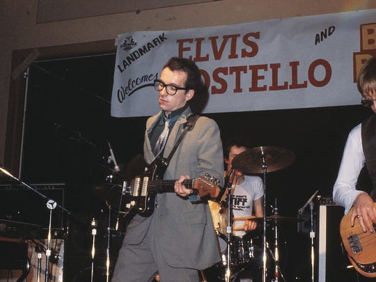 "Elvis Costello and the Attractions let it rip at Milwaukee's Electric Ballroom in 1977. This photo by Larry Widen appeared in Widen's book ""Milwaukee Rock and Roll."""