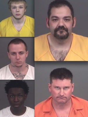 Clockwise, from top left: Connor Burr, Jean Cummings, Michael Thompson, Diamonta Lucas and Eric Hallmark.