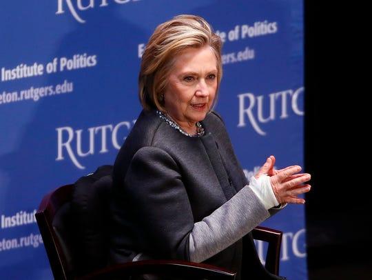 Hillary Clinton speaks with Ruth B. Mandel, Director,