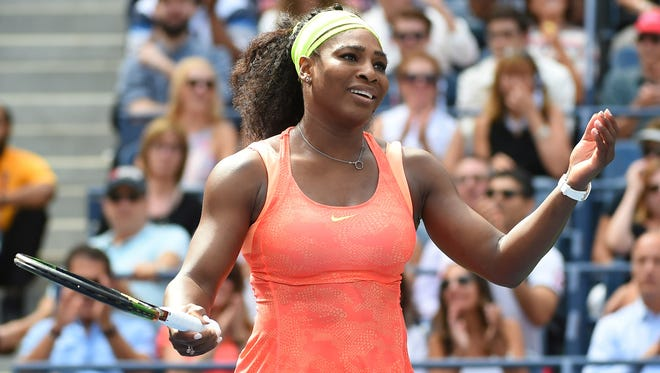 Serena Williams reacts during her match against Roberta Vinci at the 2015 U.S. Open.