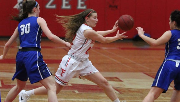 Tappan Zee's Ashley Chaluisan is defended by Pearl