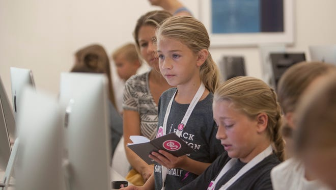 Girls aged 8 to 18 learn to use technology and computer science during the Girls Go Digital camp at Dixie State University Thursday, June 9, 2016.