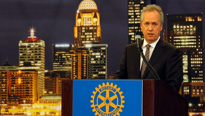 Louisville Mayor Greg Fischer addressed the Rotary Club at his annual State of the City address at the Galt House in January 2016.