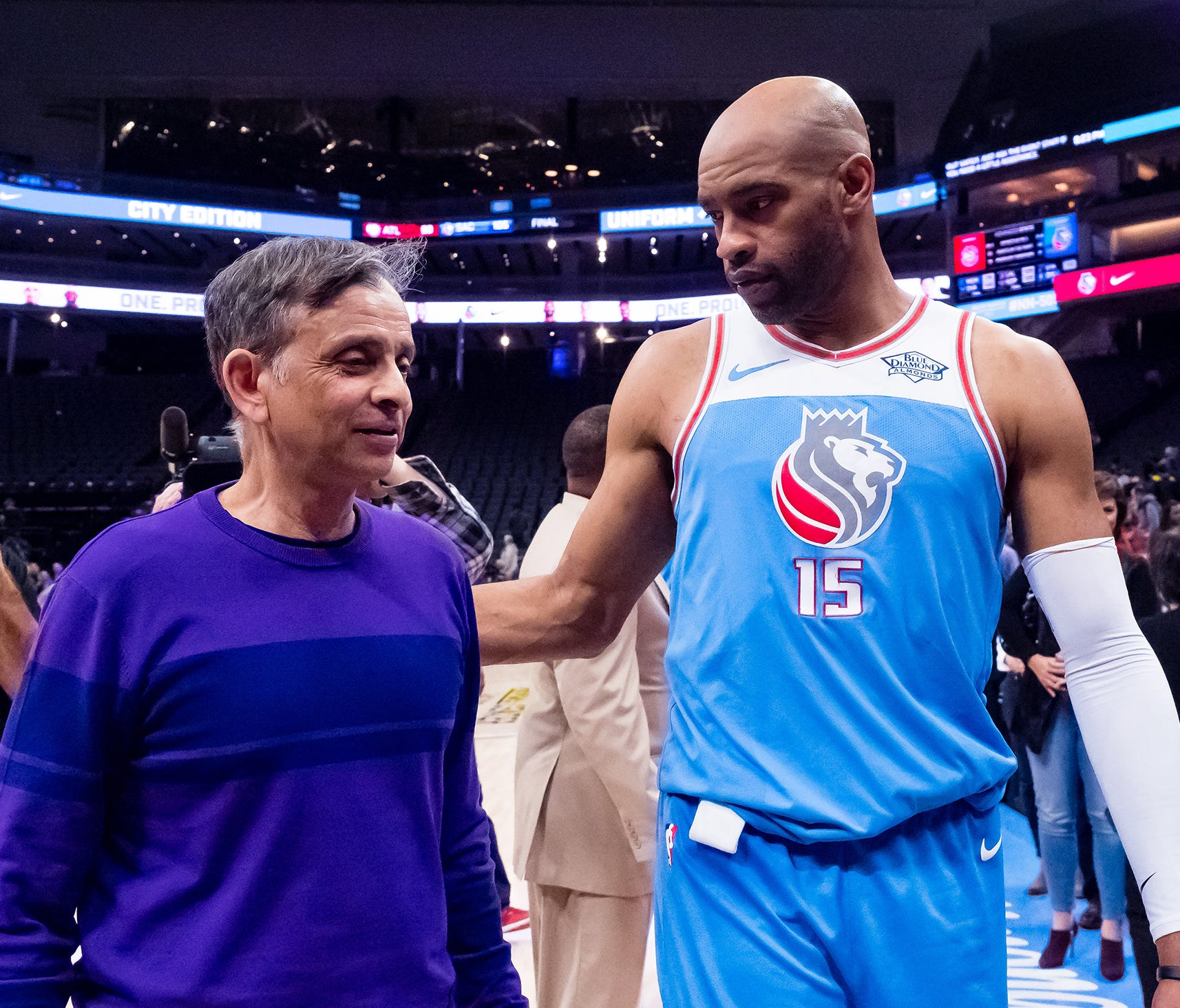 Kings majority owner Vivek Ranadive with Vince Carter after the game.