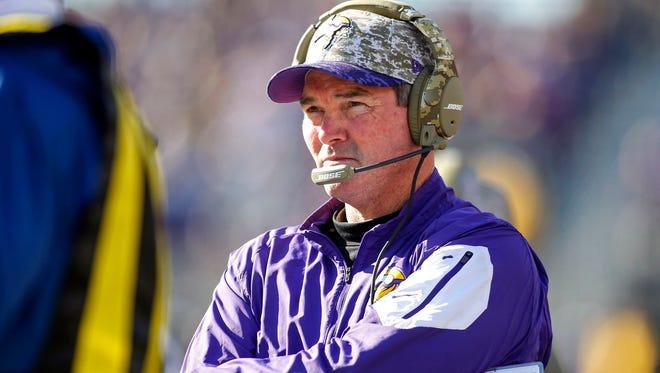 Mike Zimmer is 26-23 in three seasons as Vikings coach.
