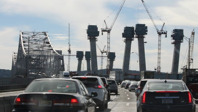 Traffic crawls across the Tappan Zee Bridge as construction continues on the new bridge last month.