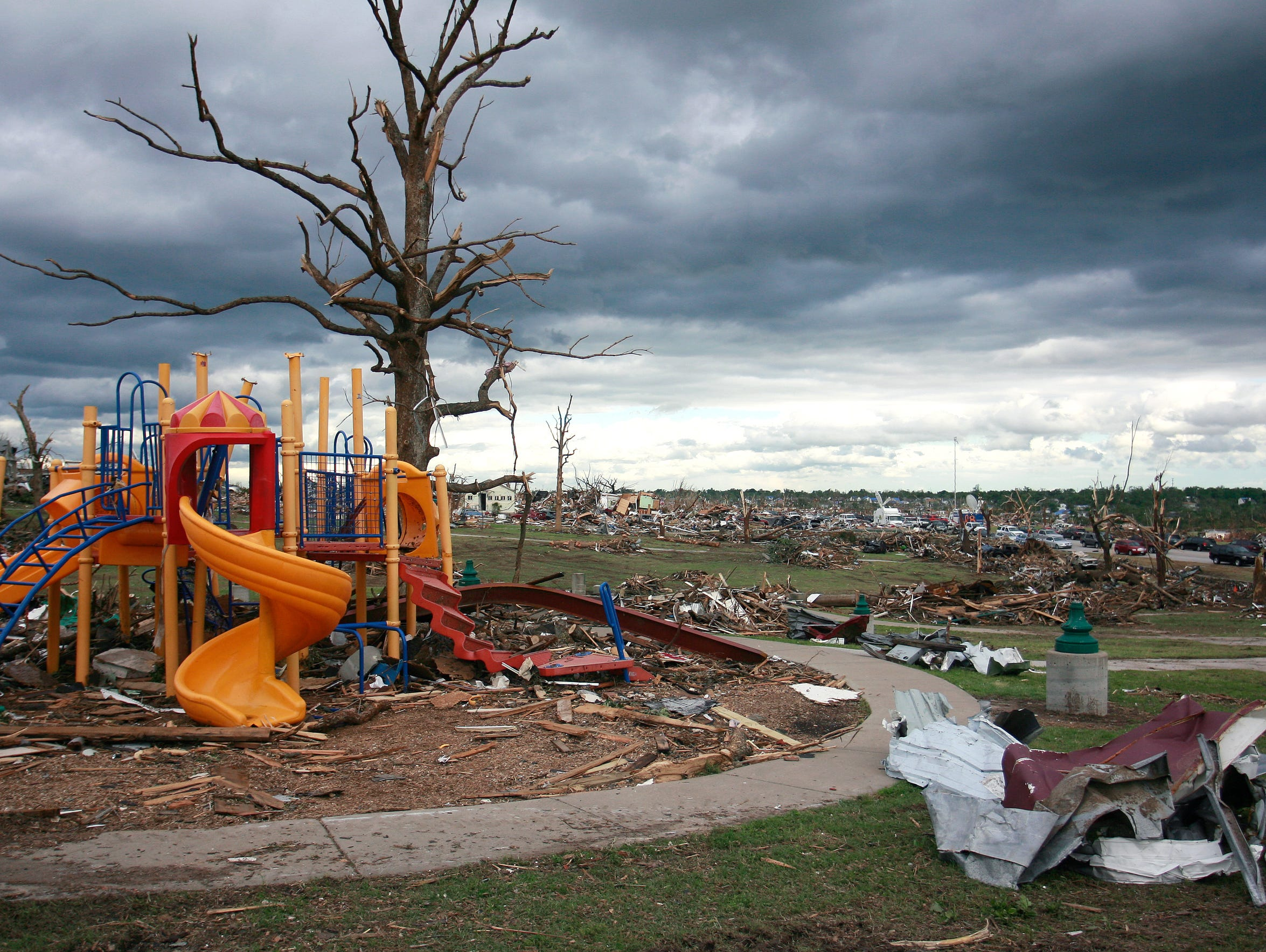 A park lies in ruins after a EF-5 tornado hit it on