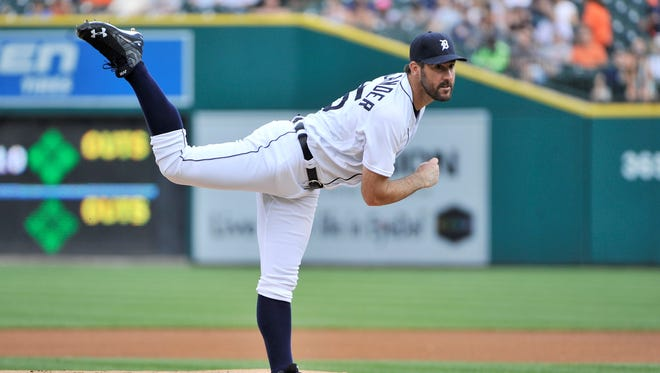 Justin Verlander throws a pitch against the Mariners at Comerica Park Tuesday.
