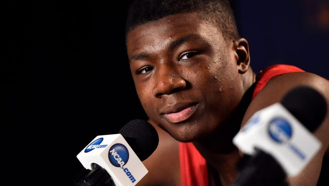 Mar 24, 2016; Philadelphia , PA, USA; Indiana Hoosiers center Thomas Bryant speaks to the media during a press conference the day before the semifinals of the East regional of the NCAA Tournament at Wells Fargo Center. Mandatory Credit: Bob Donnan-USA TODAY Sports