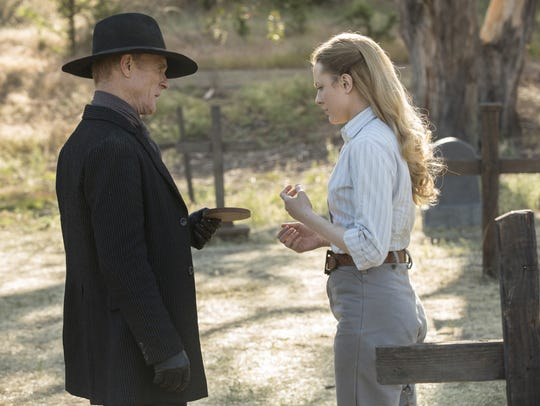 """Westworld""s human Man in Black (Ed Harris), aka William, may rue the day he met android host Dolores (Evan Rachel Wood)."