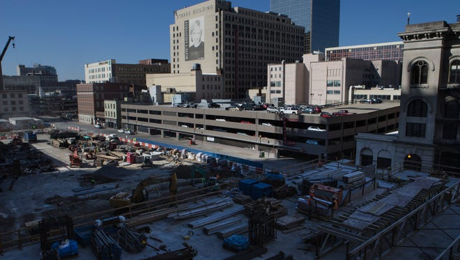 An overview of construction bordering Third Street during a tour of the Omni Hotel construction progress Thursday morning. March 16, 2017