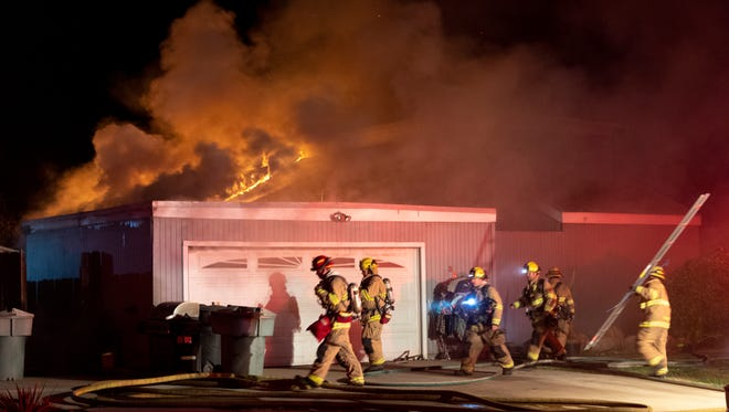 Visalia Fire Department responds to a reported structure fire in the 3500 block of East Stapp Drive just after 11 p.m. on Tuesday, October 9, 2018.