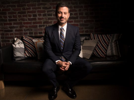 Jimmy Kimmel sits, briefly, after an episode of ABC's 'Jimmy Kimmel Live' and before he heads off to prepare for Sunday's Emmy hosting duties.
