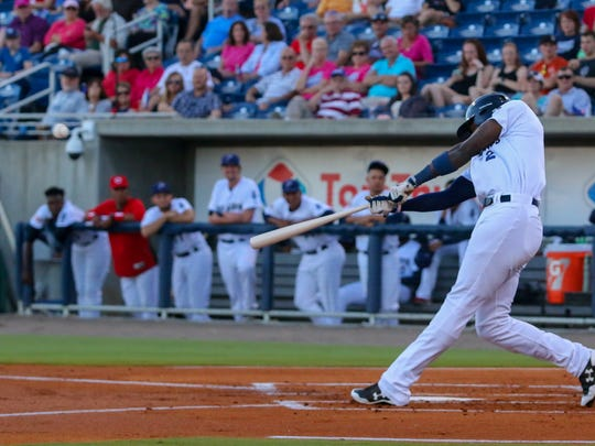 The Blue Wahoos hope touted slugger Aristides Aquino, shown blasting home run in Monday's win, can boost batting average and cut down on way too many strikeouts in first month of season.