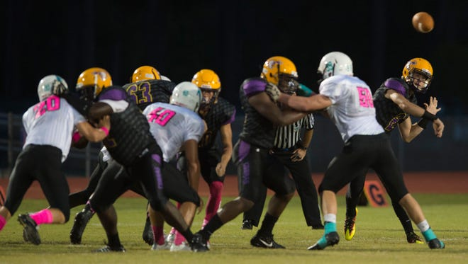 Fort Pierce Central's offensive line, seen during a game Oct. 6, 2017, against Jensen Beach, has gone from a preseason question mark to an exclamation point in recent weeks.