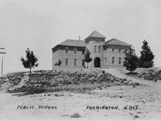 The Farmington public school on Wall Street is pictured in 1902.