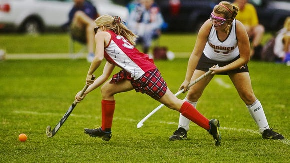 Mackenzie Farley, left, will be just a sophomore this fall at Bermudian Springs. She led the Eagles in goals as a freshman. (GAMETIMEPA.COM -- FILE)