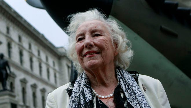 In this Friday Aug. 20, 2010 file photo, Dame Vera Lynn attends a ceremony to mark the 70th anniversary of the Battle of Britain. in central London. The family of World War II forces sweetheart Vera Lynn says she has died. She was 103 it was reported on Thursday, June 18, 2020.