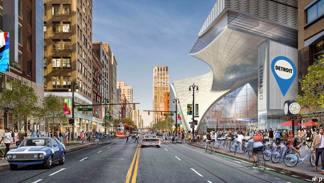 A rendering provided by Rock Ventures shows possible design elements for Dan Gilbert's project planned for the former Hudson's site on Woodward. Gilbert said he hoped to release a final plan sometime this year.