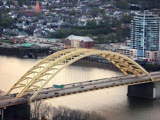 April 4, 2016. Daniel Carter Beard Bridge, Downtown Cincinnati,  Liz Dufour