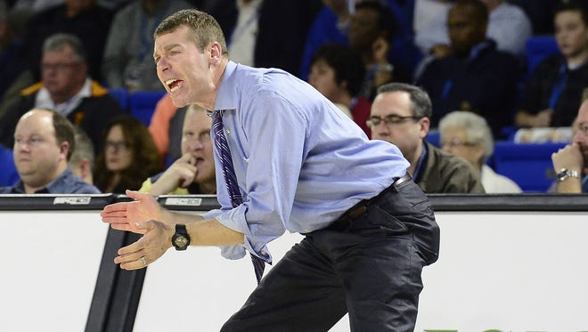 CPA head coach Drew Maddux directs his players in the second half of the Tennessee Division I AA boys high school basketball semifinal game against Haywood on Friday, March 13, 2015, in Murfreesboro, Tenn. CPA lost 60-54. (Mark Zaleski/ For The Tennessean)