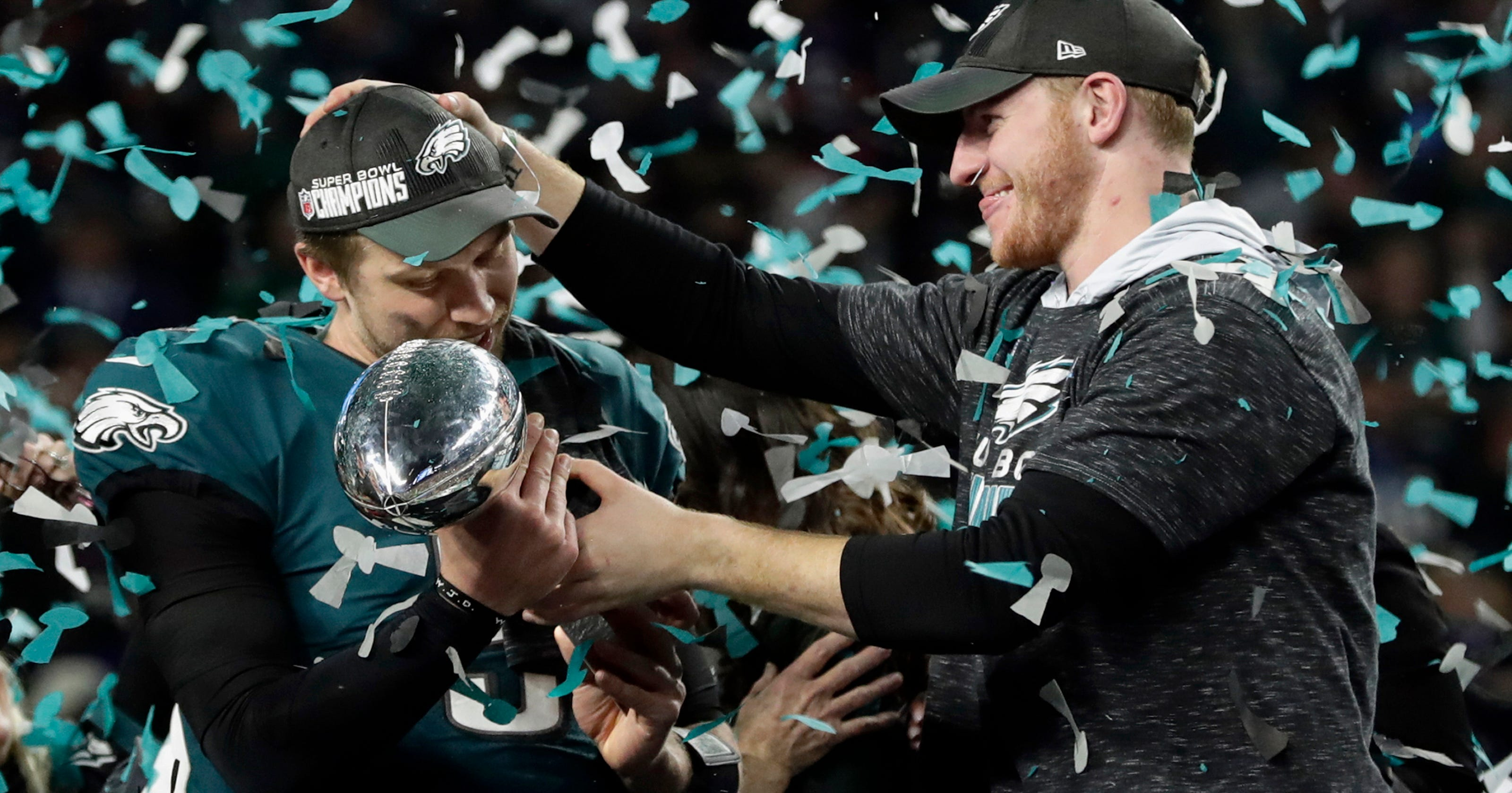 25262c51c5a Eagles' Wentz, Foles embrace stardom and their roles in wake of Super Bowl  win