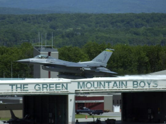 An F-16 from the Vermont Air Guard does a low-level