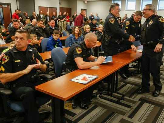 Springfield police officers during a promotion ceremony